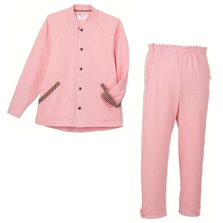 【パジャマ】【入院】【介護】 サニースエットII 上下セット フルオープンパンツ:ピンク B00MNMUAGC L
