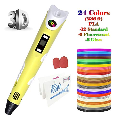 3D Printing Pen, Low Temperature with LED Display for Kids and Adults, Doodler Model Making, Art Crafts Tool, Compatible with PLA and ABS + Bonus 24 Color 236 Feet Filament Refills (Yellow)
