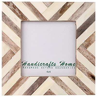 Picture Frames Photo Frame Chevron Herringbone Vintage Wooden Handmade Naturals Bone Classic Size 4x4 Inch (Brown) - Handmade Chevron Pattern Inspired Picture / Photo Frames. Made of bone Inlay and Pine MDF wood. Available in Brown, Blue, Green & Turquoise with combination of white. Compliments any home decor, your children nursery, gallery decoration and beautify any room interior. Suitable for Wall Hanging and Tabletop display with both landscape and portrait positions. Available for -4x4 Inches photo sizes. Border width is 1.25 inch and backing with Ultra Transparent Plexiglass, Pine wood MDF with Tie and metallic clips, corners and flexi pins to support the back. - picture-frames, bedroom-decor, bedroom - 51PKVz6GbkL. SS400  -