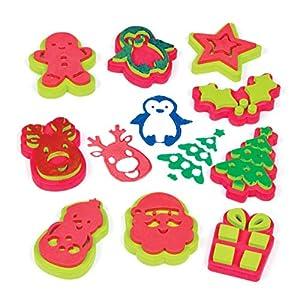 Baker Ross - Sellos navideños que los niños pueden usar para decorar tarjetas, manualidades y collages (pack de 1)