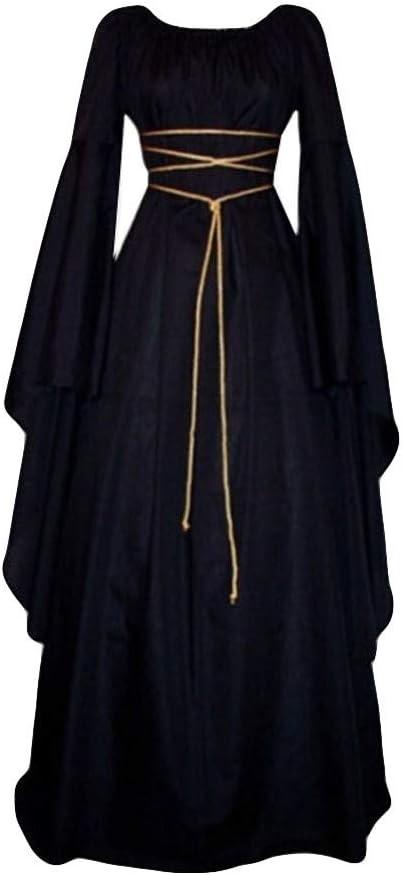 Fossenfeliz Disfraces Medievales Mujer de Reina Gótico, Vestidos de Fiesta Mujer Tallas Grandes - Disfraz de Halloween de Mujer Elegante, Disfraces Originales Adulto