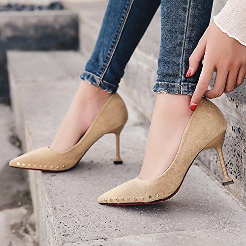 Xue Qiqi Niet High Heels Mädchen fein fein fein mit wilden Licht mit der Spitze der Mund einzelne Schuhe Frauen Schuhe, 39, beige 8 cm - d931a1