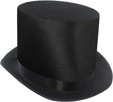 Top Hat Black Satin Look Mens Victorian Magician Fancy Dress Accessory Grey