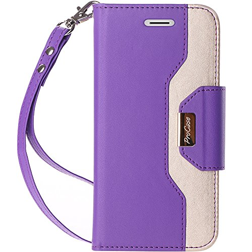 ProCase iPhone Xs/iPhone X Wallet Case, Flip Kickstand Case with Card Slots Mirror Wristlet, Folding Stand Protective Cover for 5.8 inch Apple iPhone Xs (2018) / iPhone X (2017) -Purple