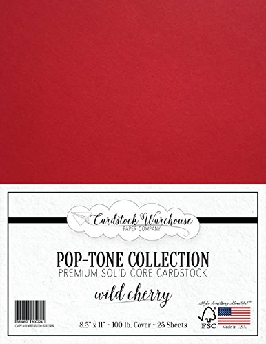 Wild Cherry RED Cardstock Paper - 8.5 x 11 inch 100 lb. Heavyweight Cover -25 Sheets from Cardstock Warehouse -
