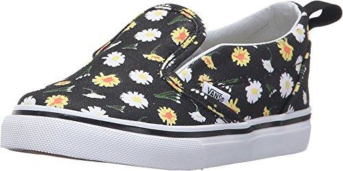 (Vans Slip-On V Little Girls (Daisy) Black/True White Girls 4.5)