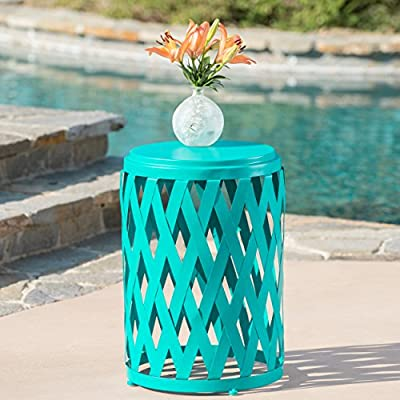 Ellen Outdoor Iron Side Table (12 Inch or 14 Inch Diameter) (14 Inch Diameter, Matte Teal) - This side Table is a wonderful way to add some color to your patio Featuring a Lattice design, this iron Table is both light weight and stylish Manufactured in China - patio-tables, patio-furniture, patio - 51PKX2n2FhL. SS400  -