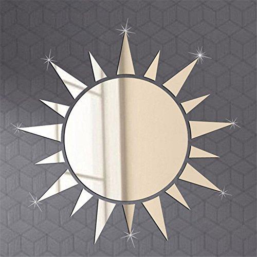 Acrylic 3D Sun Mirror Effect Wall Sticker Decal Room Art Mural Decor Removable-Silver -