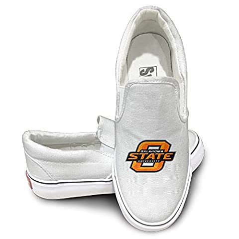 Cobain Oklahoma State University Osu Unisex Comfort Flat Canvas Shoes Sneaker 39 White (Oklahoma Championship Ring)