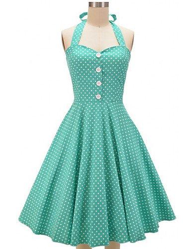 PU&PU Robe Aux femmes Vintage / Soirée / Mignon , Points Polka U Profond Mi-long Mélanges de Coton , green-xl , green-xl