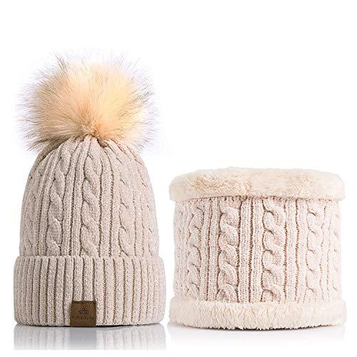 - Women Winter Pom Pom Beanie Hats Warm Fleece Lined,Chunky Trendy Cute Chenille Knit Twist Cap+Loop Scarf Beige