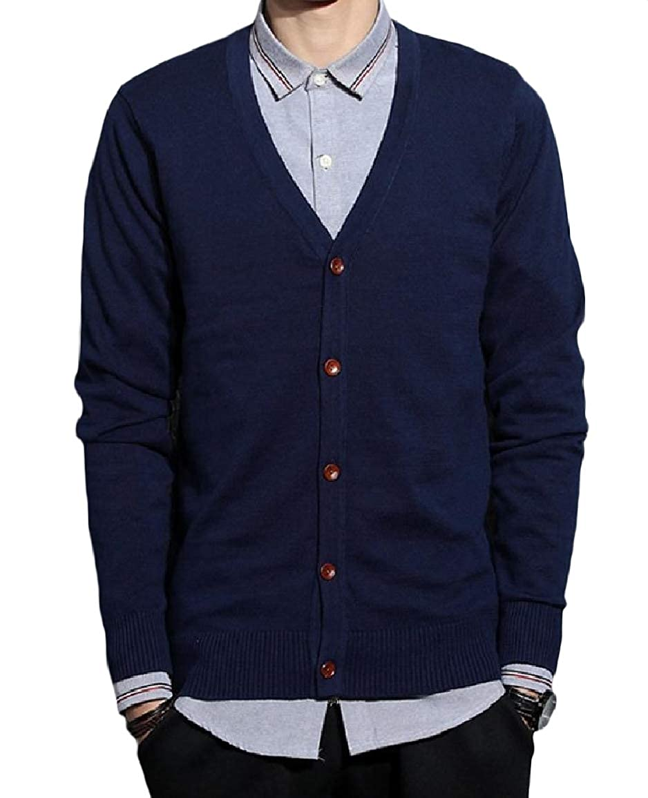 Nicelly Mens Cotton Button Pure Colour Fit V Neck Long-Sleeve Sweater Outwear