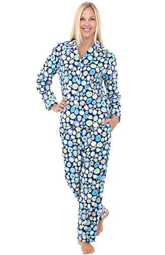 (Alexander Del Rossa Women's Warm Flannel Pajama Set, Long Button Down Cotton Pjs, 3X Retro Circles (A0509Q743X))