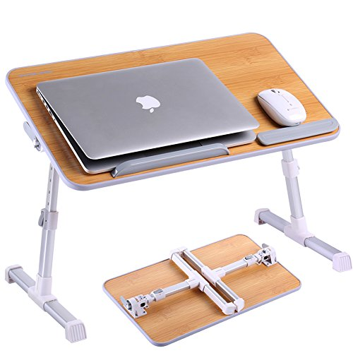 Adjustable Laptop Table, Superjare Portable Standing Desk, Notebook Stand Reading Holder For Couch Floor, Bed Tray Table with Foldable Legs - Bamboo Wood Grain Image