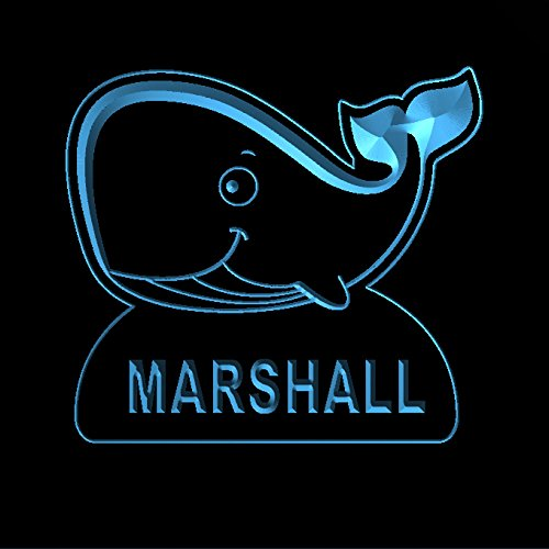 Marshall Led Sign - ws1037-0285-b MARSHALL Whale Night Light Nursery Baby Kids Name Day/ Night Sensor LED Sign