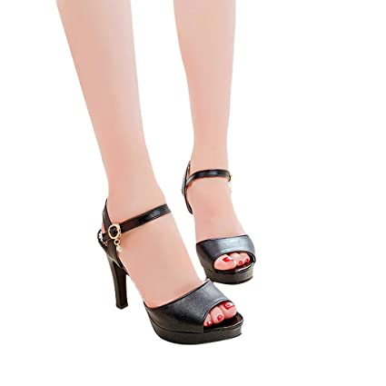 d01ffc128 Amazon.com: Women Stiletto Sandals Strappy Buckle High Heels Open Toe  Bridal Wedding Party Shoes (Black, US:6.5): DesigN