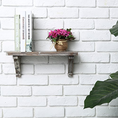 Rustic Torched Wood Wall-Mounted Storage Display Shelves with Wooden Brackets, Set of 2 by MyGift (Image #2)