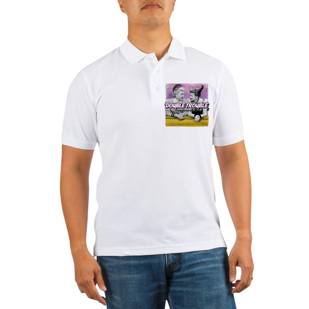 1b236d6b8 Amazon.com: CafePress I Love Lucy: Double Trouble Golf Shirt Golf Shirt,  Pique Knit Golf Polo White: Clothing