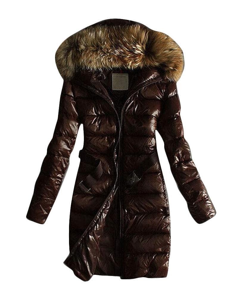 Minetom Cappotto Elegante Donna Corta Piumino Invernale Giacca per Giacche di Cotone Pelliccia Sintetica Pelliccia Cappuccio Lungo Giacche