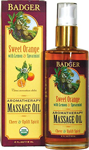 Badger Sweet Orange Aromatherapy Massage Oil - - Oil Orange Massage