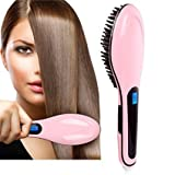 Bestrice Hair Straightener Digital 8s Instant Straightening Styling Heating Massage Anti Static Ceramic Anti-Scald Zero Damage Safe Comb Detangling Hair Brush – Pink