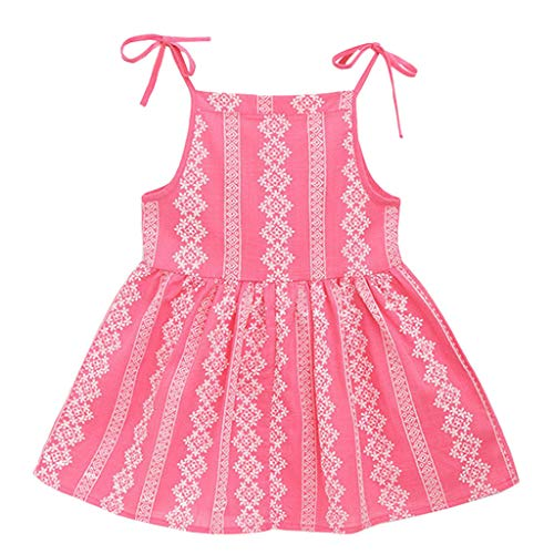 MOGOV Toddler Kid Baby Girl Solid Flower Striped Princess Party Dress Sundress Clothes Mutiple Colors in Available Watermelon Red