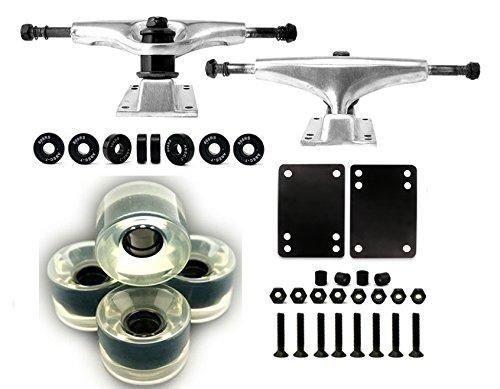 Skateboard Truck and Wheel, 5.0 Skateboard Trucks (Silver) w/Skateboard Crusier Wheel 60mm, Skateboard Bearings, Skateboard Screws, Skateboard Riser Pads (Gel clear)