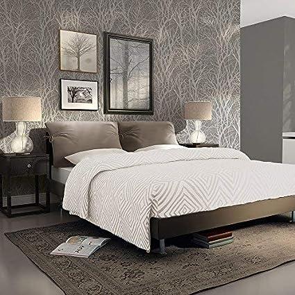 As Creation Forest Pattern Wood Tree Metallic Pearl Motif Embossed Wallpaper Grey 300943