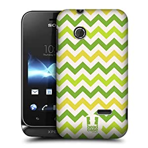 Head Case Designs Green Yellow Chevron Pattern Protective Snap-on Hard Back Case Cover for Sony Xperia tipo ST21i