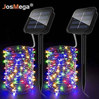 JosMega Upgraded Solar Powered LED String Lights, Waterproof 8 Modes Twinkle Lighting Indoor Outdoor Fairy Firefly Lights Dusk to Dawn Auto On/Off Energy Saving