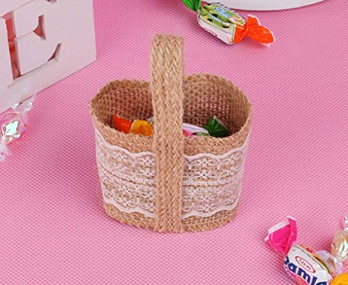 Beautiful and Elegant Lovely Mini Wedding Candy Basket Party Favor Bags for Wedding/Birthday/Quinceaneras/Sweet Sixteen or any Special Event-Various Styles (Burlap Lace)