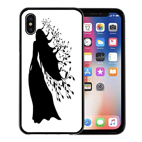 Semtomn Phone Case for Apple iPhone Xs case,Beautiful Dryad Nymph Forest Silhouette Ancient Mythology Fantasy Black Divine for iPhone X Case,Rubber Border Protective Case,Black