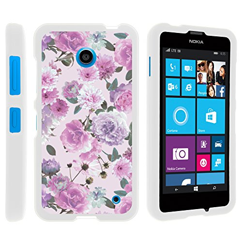 Nokia 635 Phone Case, Thin Hard Shell Hard Armor Case with Personalized Graphics for Nokia Lumia 635 (AT&T, Sprint, T Mobile, Virgin Mobile, Boost Mobile, MetroPCS) from MINITURTLE | Includes Clear Screen Protector and Stylus Pen - Pink Purple Flower