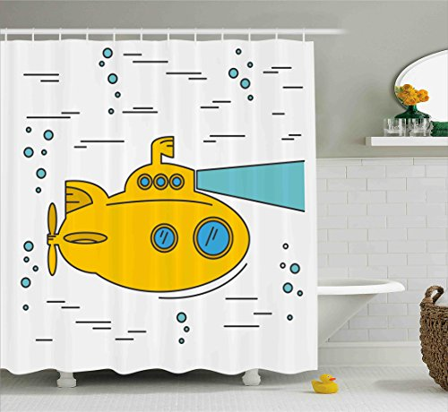 Yellow Submarine Cartoon - Yellow Submarine Shower Curtain Set by Ambesonne, Ocean Nautical Adventure Underwater with Bubbles Porthole Cartoon Kids, Fabric Bathroom Decor with Hooks, 75 Inches Long, White Yellow Blue