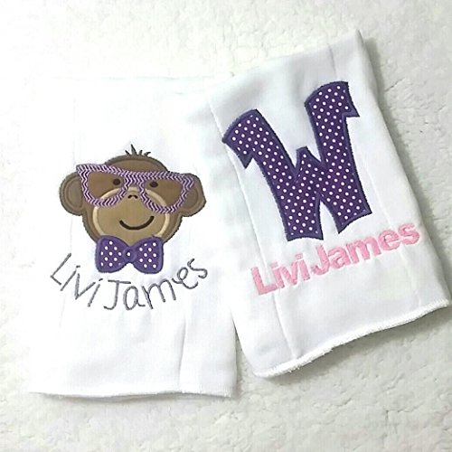 Bundle Set - Burp Cloth for Babies, 100% Organic Cotton, Embroidered with Personalized Monogrammed Name, Initial and cool monkey, Extra Large 20