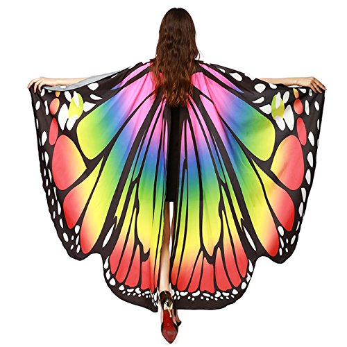 (Luckcome Butterfly Flowy Wings Shawl, Halloween/Party Prop Soft Fabric Costume Accessory for Women Adult)