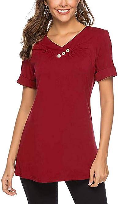 Camiseta de Mujer, Verano Color sólido Moda Manga Corta Elegante Blusa Camisa Cuello en v Camiseta Casual Tops Fiesta T-Shirt Original tee vpass: Amazon.es: Ropa y accesorios