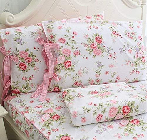 (Abreeze Floral Printed Bedding Sets,Soft Cotton Bed Sheet Set 4- Piece (California King, Pink))