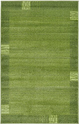 Unique Loom Del Mar Collection Contemporary Transitional Light Green Area Rug (3' 3 x 5' 3) Dark Green Contemporary Rug