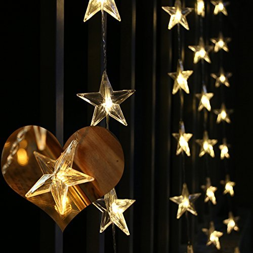 LEORX Curtain Lights Star 50 Warm White Waterproof Indoor Or Outdoor LEDs