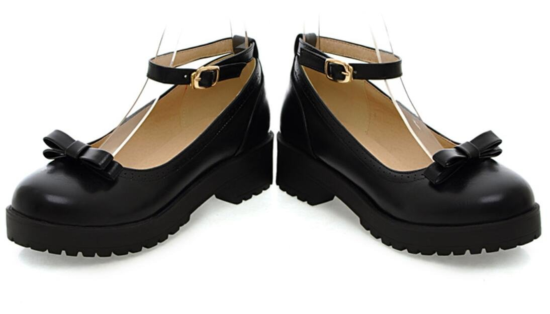 Women's Girl's Lolita Flat Low Top Japanese Students Maid Uniform Dress Shoes Oxford Shoes (5, All Black) by ACE SHOCK (Image #2)
