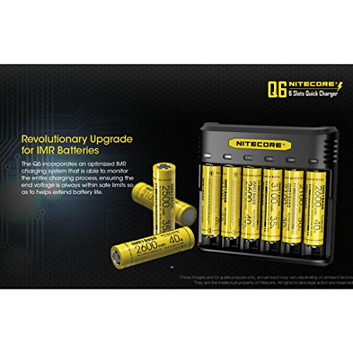 NITECORE Q6 Six Slot 2A Universal Li-ion/IMR Battery Charger for 18650,16340, RCR123A, 14500, 18350 with 2X IMR 3100mAH Rechargeable Batteries and LumenTac Organizer by Nitecore (Image #4)