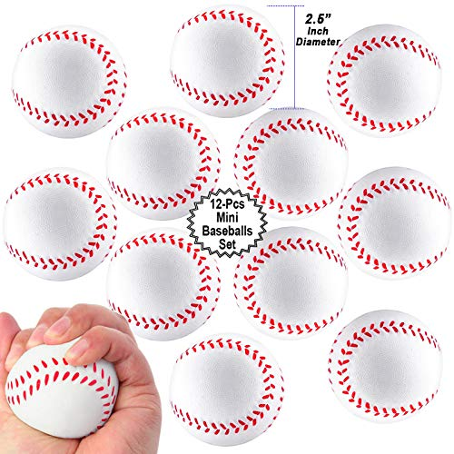 Mini Sports Balls for Kids Party Favor Toy, Soccer Ball, Basketball, Football, Baseball (12 Pack) Squeeze Foam for Stress, Anxiety Relief, Relaxation. (12 Pack (Baseballs))]()