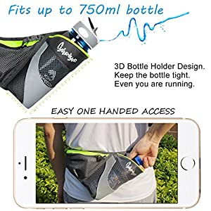 CyberDyer Running Belt Waist Pack with Water Bottle Holder for Men Women Waist Pouch Fanny Bag Reflective Fits iPhone 6/7 Plus (Rose)