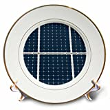 3dRose Alexis Photography - Objects - Image of solar power panel. Dark blue cells white grid - 8 inch Porcelain Plate (cp_264065_1)