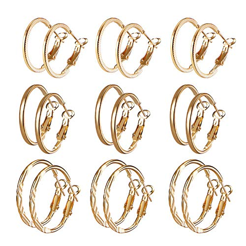 Gbell Clearance! Fashion Silver Gold Hoop Earrings 9 Pairs/Set Combination,Women Fine Decorative Smooth Ear Hoop Clip On Earrings Charm Party Jewelry Set for Girls Lady (Gold)