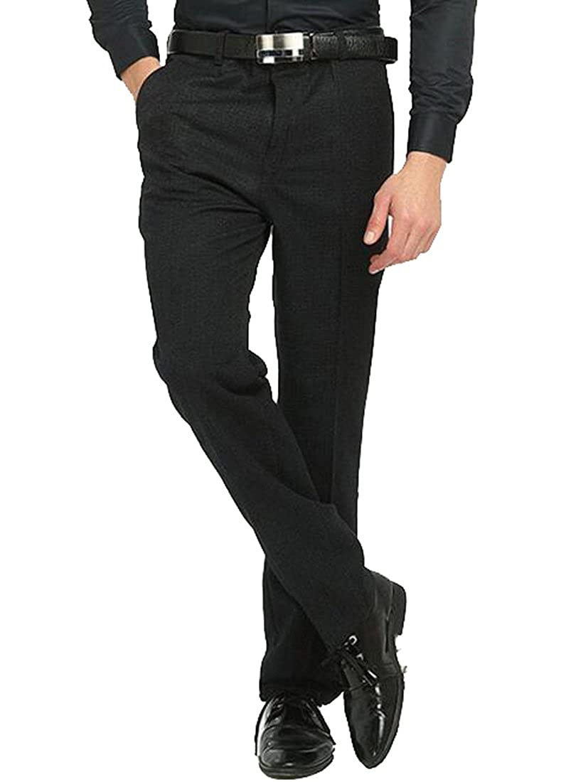 LD Mens Casual Fleece Lined Straight Leg Slim Business Pants Trousers