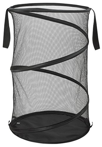 """Mesh Pop-Up Laundry Hamper, Black- 16"""" x 25"""" - Easy to open and folds flat for storage. Hampers mesh material helps eliminate laundry odors and moisture. Great high capacity laundry hamper for"""