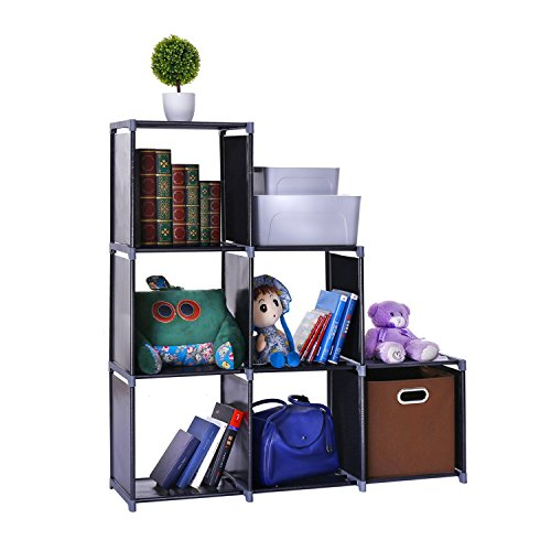 Waterproof 6-Cube Closet Organizer Shelves Storage Cubes Organizer Cabinet Bookcase - For Living Room Bedroom Office - (Office Cube Bookcase)