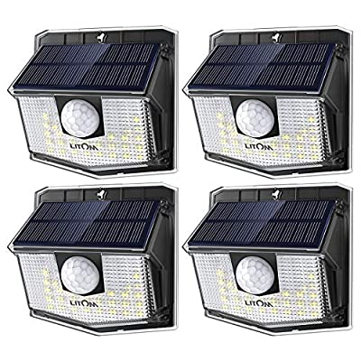 LITOM Lite 30 LED Solar Lights Outdoor, Wireless Easy to Install Motion Sensor Light with 270° Wide Angle, IP65 Waterproof Solar Security Light For Front Door, Yard, Garage, Garden, Patio, Deck